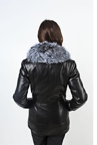 Куртка с воротником из чернобурки